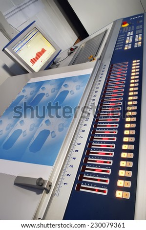 Hardware control panel and monitor printing - stock photo