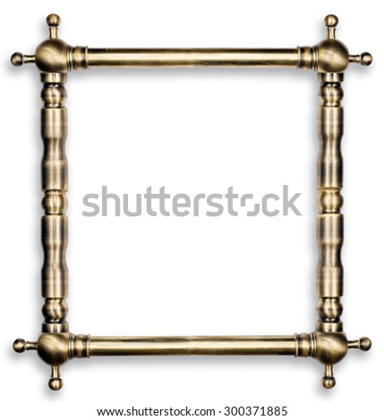Hardware design concept. Old scratched bronze pipes frame with light reflections made for text or picture isolated on white background. two clipping path included - stock photo