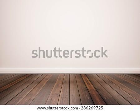 hardwood floor and white wall - stock photo