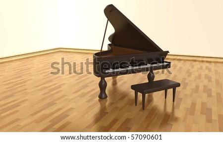 Hardwood old piano - stock photo