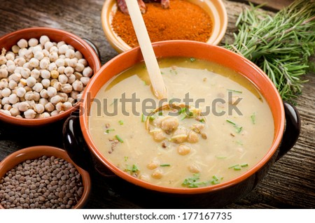harira traditional maghreb recipe - stock photo