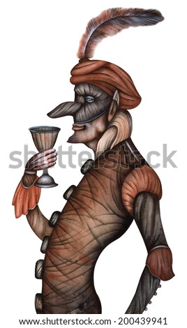 Harlequin, commedia dell'arte stock character - stock photo