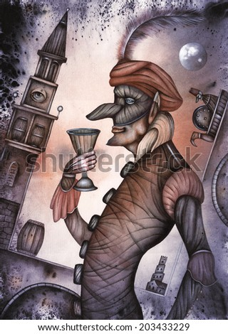 Harlequin, commedia dell'arte stock character. - stock photo
