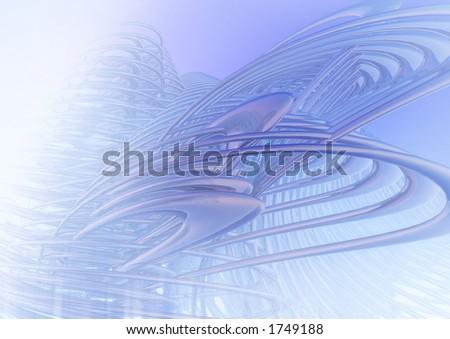 Harmonious futuristic structures in blue - stock photo