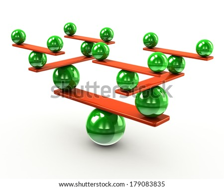 Harmony and balance concept made of green spheres - stock photo