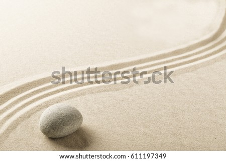 harmony and spirituality background, Zen meditation garden with stone and sand.