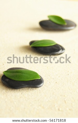 harmony concept with zen stones and leaves - stock photo