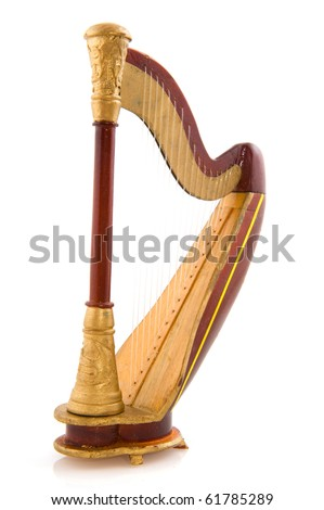 Harp or decachord in brown and gold