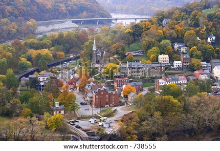 harpers ferry at autumn day (view from mountain) looks like a toy city or a model an a palm of hand :-)) - stock photo