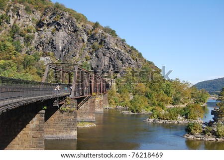 Harpers Ferry Bridge in West Virginia - stock photo