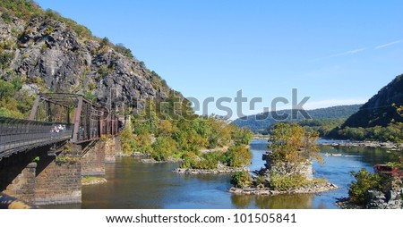 Harpers Ferry Bridge, West Virginia USA - stock photo