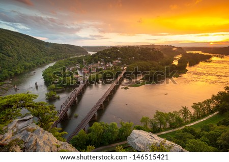 Harpers Ferry National Historic Park Sunset From Maryland Heights Overlook - stock photo