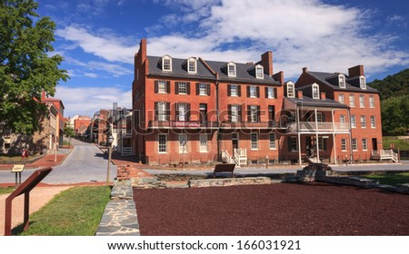 HARPERS FERRY, WV - AUGUST 14:  Harpers Ferry National Park includes this historic town in Jefferson County, West Virginia, as seen on August 14, 2013, and provides access to the Appalachian Trail. - stock photo
