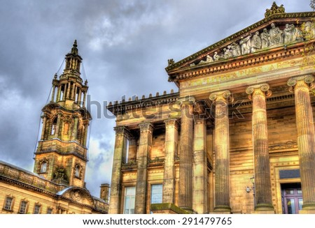 Harris Museum and The Sessions House in Preston - England - stock photo