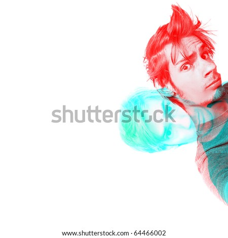 Harris shutter effect on a male with copyspace on left. This image is also good for demonstrating what you would see wearing 3D glasses, or  hallucinating on psychedelic drugs. - stock photo
