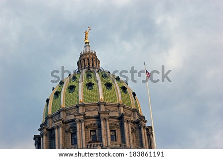 Harrisburg, Pennsylvania -  Dome of State Capitol Building - stock photo