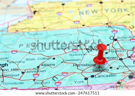 Harrisburg pinned on a map of USA  - stock photo