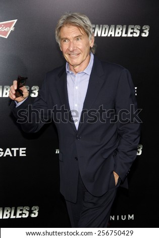 """Harrison Ford at the Los Angeles premiere of """"The Expendables 3"""" held at the TCL Chinese Theatre in Los Angeles on August 11, 2014 in Los Angeles, California.  - stock photo"""