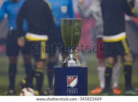 Harrison, NJ USA - November 29, 2015: Champion Trophy on display before Eastern Conference final between Red Bulls & Columbus Crew SC - stock photo