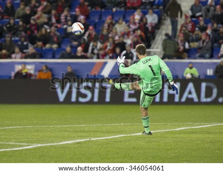 Harrison, NJ USA - November 29, 2015: Steve Clark of Columbus Crew SC kicks ball during MLS Eastern Conference Final against New York Red Bulls at Red Bulls Arena - stock photo