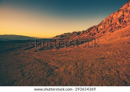 Harsh California Landscape. Death Valley Vista at Sunset. California, United States. - stock photo