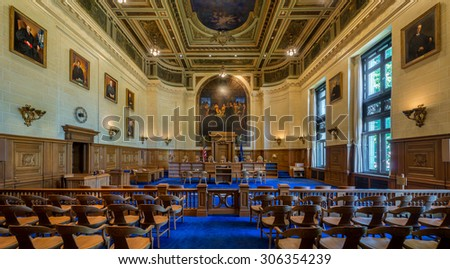 HARTFORD, CONNECTICUT - JULY 23: Connecticut Supreme Court chamber on July 23, 2015 in Hartford, Connecticut - stock photo