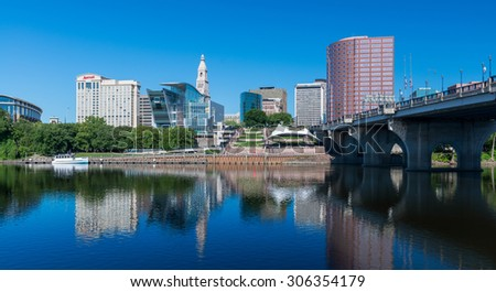 HARTFORD, CONNECTICUT - JULY 23: Downtown Hartford and the Connecticut River from Great River Park on July 23, 2015 in Hartford, Connecticut