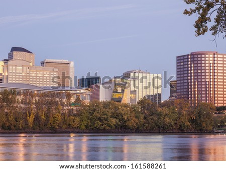 Hartford Connecticut riverfront skyline taken at sunrise on a fall morning. - stock photo