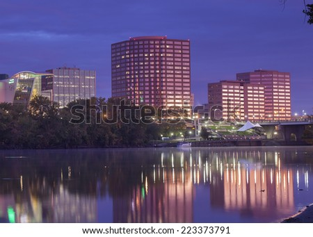 Hartford Connecticut riverfront skyline taken before sunrise. - stock photo