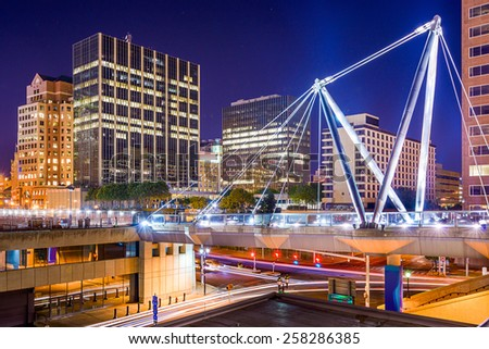Hartford, Connecticut, USA downtown cityscape at Founders Bridge. - stock photo