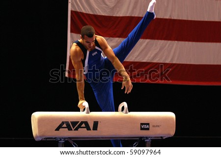 HARTFORD; CT - AUGUST 13: Gymnast Danell Leyva performs on the pommel horse during the men's competition at the VISA Gymnastics Championships in Hartford; CT on August 13, 2010.