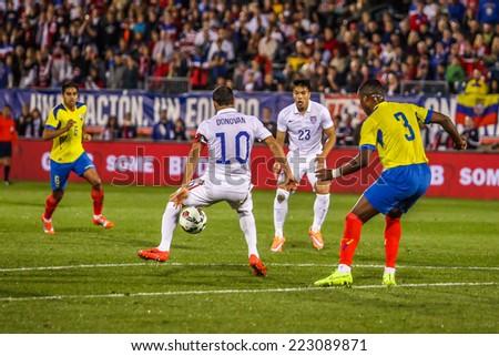 HARTFORD - OCTOBER 10:   Landon Donovan #10 on US International Friendly match between US Men`s National Team vs Ecuador,  on October 10, 2014, in Rentschler Field stadium, Hartford, USA. - stock photo