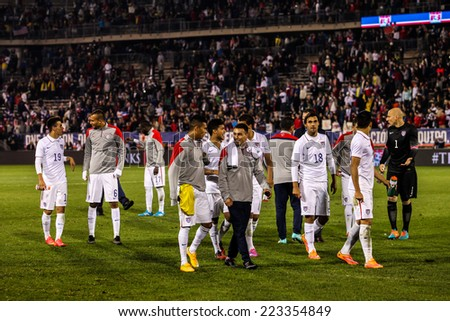 HARTFORD - OCTOBER 10:  US  players after match on US International Friendly match between US Men`s National Team vs Ecuador,  on October 10, 2014, in Rentschler Field stadium, Hartford, USA. - stock photo