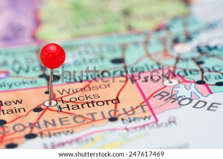 Hartford pinned on a map of USA  - stock photo