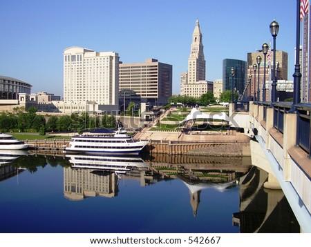 Hartford Skyline Reflection - stock photo