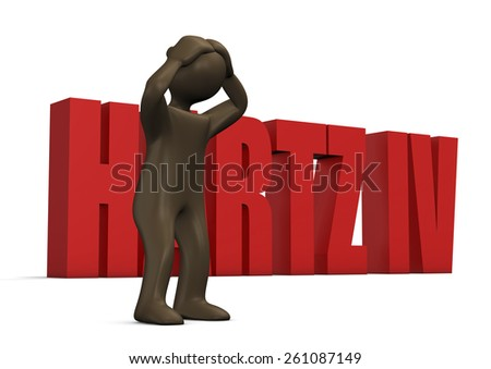 Hartz IV, welfare case, 3d illustration with black cartoon character - stock photo