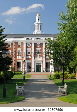 Harvard Business School. Footpath leading to the entrance of Baker Library and Bloomberg Center - stock photo