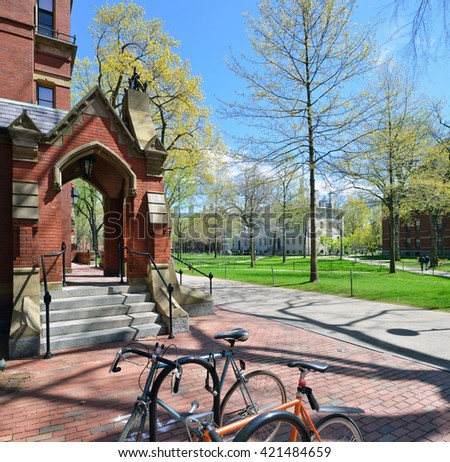 Harvard Old Yard from entrance of Matthews Hall - stock photo