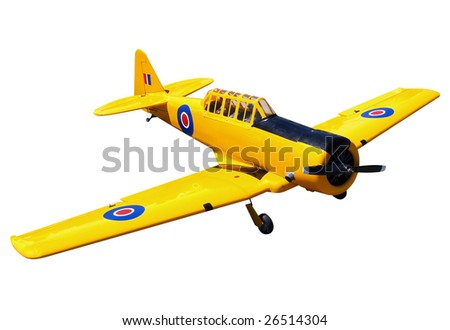 Harvard Replica Radio Control Aircraft isolated with clipping path - stock photo