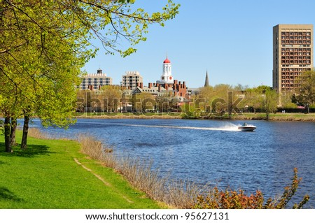 Harvard University across the Charles River in Cambridge, Massachusetts. Early spring. - stock photo