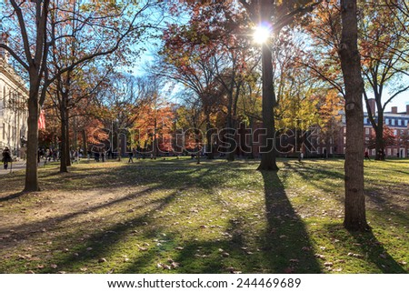 Harvard Yard, old heart of Harvard University campus, on a beautiful fall day in Cambridge, MA, USA on November 12, 2010. - stock photo