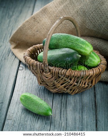 Harvest cucumbers in a basket on the wooden background - stock photo
