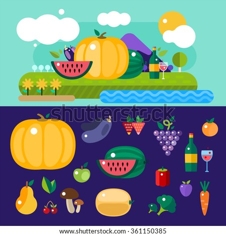 Harvest food icons objects. Harvest fruits and vegetables. Harvest basket and harvest isolated objects. Harvesting. Harvest background. Harvest  autumn season. Harvest objects isolated - stock photo