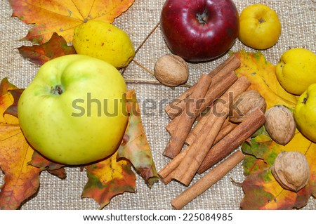 harvest natural, organic apples, quince, cinnamon, nuts, yellow maple leaves, autumn concept - stock photo