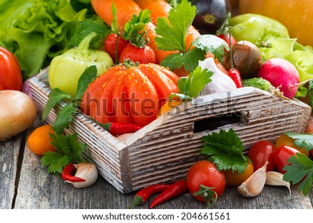 harvest of fresh seasonal vegetables in a wooden box, horizontal, close-up