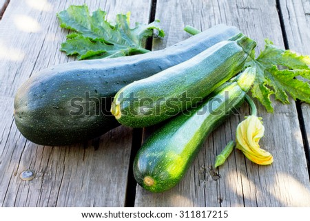 Harvest of fresh zucchini on the wooden background - stock photo