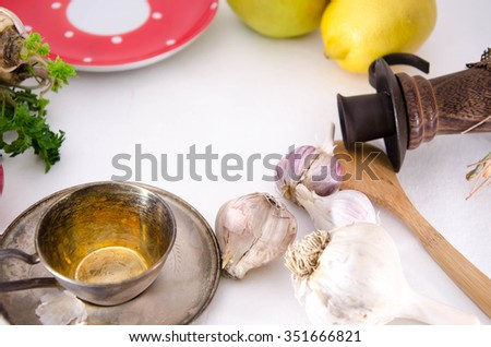 Harvest or Thanksgiving background with autumnal fruits and gourds on a rustic wooden table - stock photo