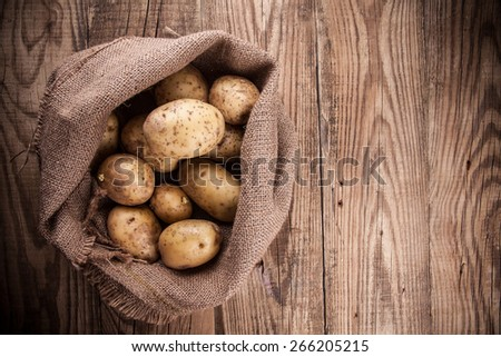 Harvest potatoes in burlap sack on wooden background - stock photo