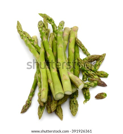 harvested asparagus isolated on white  - stock photo