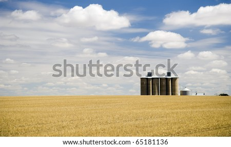 Harvested field with grain silo and fluffy white clouds - stock photo